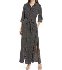 women's 1901 tie waist long sleeve maxi shirtdress, size xx-small - black