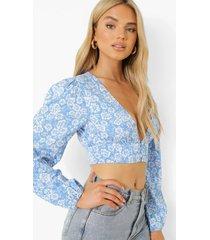 chiffon bloemen blouse, blue