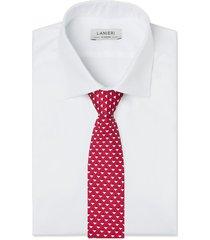 cravatta su misura, lanieri, geometria seta rossa, quattro stagioni | lanieri