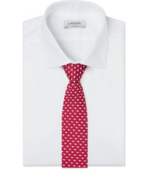 cravatta su misura, lanieri, geometria seta rossa, quattro stagioni