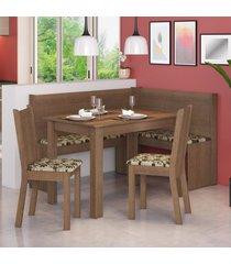 canto alemão madesa onill com mesa e 2 cadeiras marrom