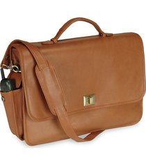 royce new york men's leather laptop briefcase - tan