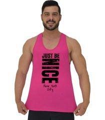 regata cavada masculina alto conceito just be nice rosa choque - rosa - masculino - algodã£o - dafiti