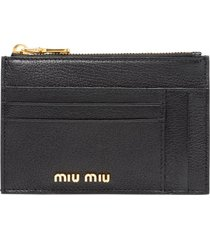 miu miu madras card holder - black