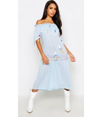 bohemian embroidered skater dress, powder blue