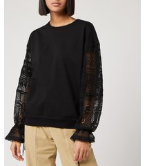 see by chloé women's lace sleeve sweatshirt - black - s