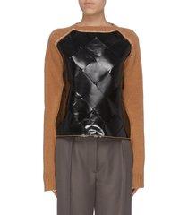 colourblock woven leather panel wool sweater