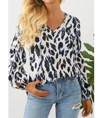 blusa de manga larga con cuello en v y diseño de leopardo de yoins
