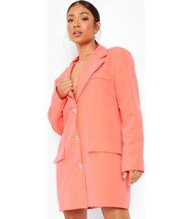 petite oversized neon boyfriend blazer jurk, hot pink