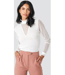 na-kd party lace high neck frill ls blouse - white
