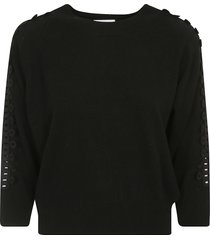 see by chloé sleeve embroidered pullover