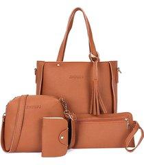 4 pz donna borsa in pelle nappa per il tempo libero crossbody borsa solid shoulder borsa