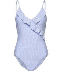 striba frill swimsuit baddräkt badkläder blå becksöndergaard