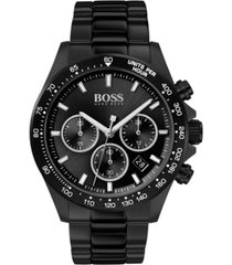 boss men's chronograph hero black ion-plated stainless steel bracelet watch 43mm