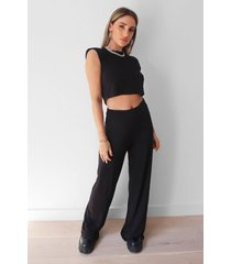 womens let's go to together cropped top and pants set - black
