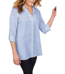 foxcroft sterling button front non-iron linen shirt, size 10 in malibu blue at nordstrom