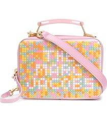 marc jacobs bolsa tote de couro com detalhe de logo - rosa