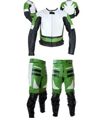 new mens green white color motorcycle leather suit leather jacket and pants