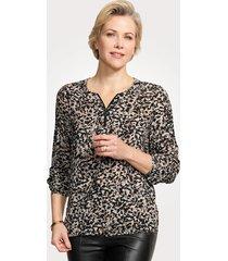 blouse mona antraciet::beige::lichtbruin