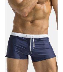 austinbem sexy uomo boxers shorts costume da bagno e spiaggia a vita bassa respirabile con tasche posteriori per surf e nuoto