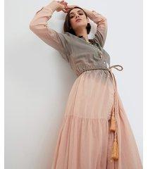 vestito lungo chemisier sfumato