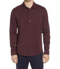 men's vince pima cotton button up shirt, size x-large - burgundy