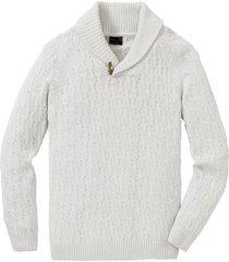 pullover a trecce con cotone riciclato (bianco) - bpc selection