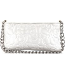 chanel pre-owned 2004 camellia pouch - silver
