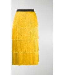 plan c fringed mid-length skirt