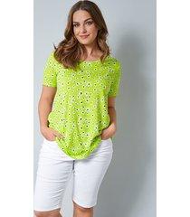 shirt janet & joyce neongroen::wit