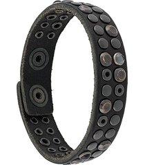 diesel studded raw edge bracelet - black
