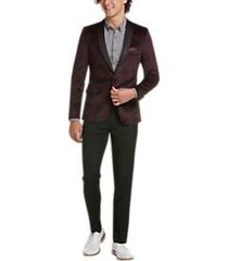 paisley & gray slim fit formal sport coat merlot plaid