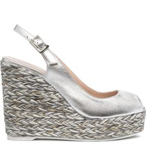 paul warmer metallic-effect wedge sandals - silver