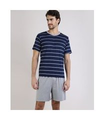 pijama masculino lupo listrado manga curta azul marinho