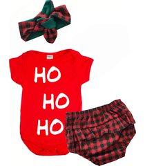 kit milkfun  de natal menina hohoho com laã§o e tapa fralda xadrez - vermelho - menina - dafiti