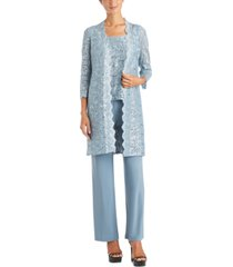r & m richards petite 3-pc. sequined-lace jacket, top & pants