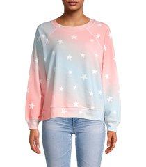 wildfox women's star-print sweatshirt - pink blue combo - size s