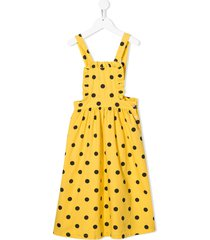 the animals observatory polka dot overall dress - yellow
