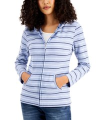 karen scott petite striped hoodie, created for macy's