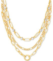 "steve madden gold-tone crystal & large link layered necklace, 15"" + 3"" extender"