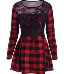 plaid crochet lace panel tunic top