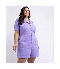 macacão feminino mindset plus size de sarja manga curta com bolsos e botões lilás