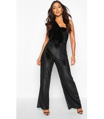 velvet drape one shoulder jumpsuit, black