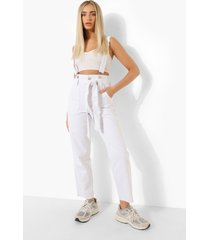 pinafore mom jeans met hoge taille, white