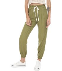 pantalón paperbag lino verde militar  corona