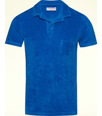 sky diver blue tailored terry towelling polo shirt