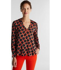 blusa mujer manga larga estampada naranja esprit