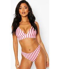 gestreepte laag decolleté driehoek bikini top en cheeky bum bikini broekje, white