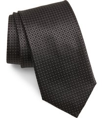 men's canali neat silk tie, size regular - black