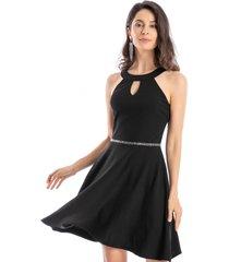 vestido detalle cintura strass negro nicopoly